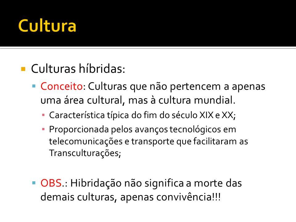 Culturas híbridas: Conceito: Culturas que não pertencem a apenas uma área cultural, mas à cultura mundial. Característica típica do fim do século XIX