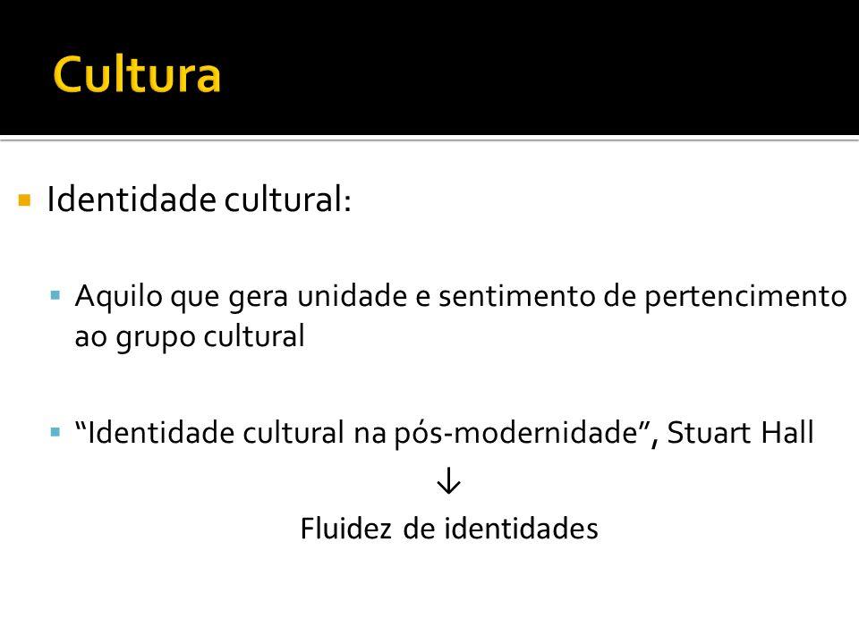 Identidade cultural: Aquilo que gera unidade e sentimento de pertencimento ao grupo cultural Identidade cultural na pós-modernidade, Stuart Hall Fluid