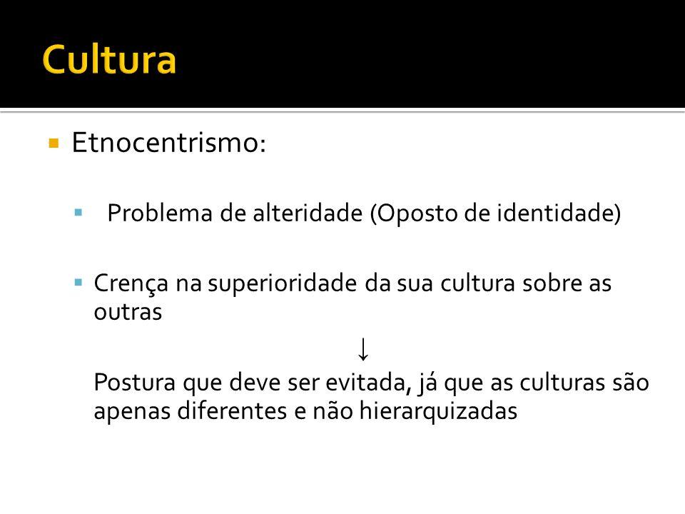 Etnocentrismo: Problema de alteridade (Oposto de identidade) Crença na superioridade da sua cultura sobre as outras Postura que deve ser evitada, já q