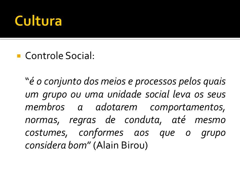 Controle Social: é o conjunto dos meios e processos pelos quais um grupo ou uma unidade social leva os seus membros a adotarem comportamentos, normas,