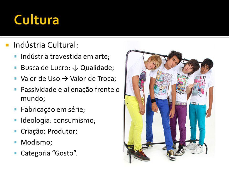 Indústria Cultural: Indústria travestida em arte; Busca de Lucro: Qualidade; Valor de Uso Valor de Troca; Passividade e alienação frente o mundo; Fabr