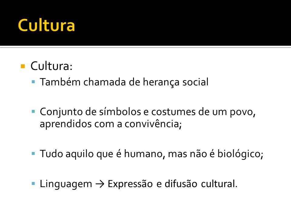 Cultura: Também chamada de herança social Conjunto de símbolos e costumes de um povo, aprendidos com a convivência; Tudo aquilo que é humano, mas não