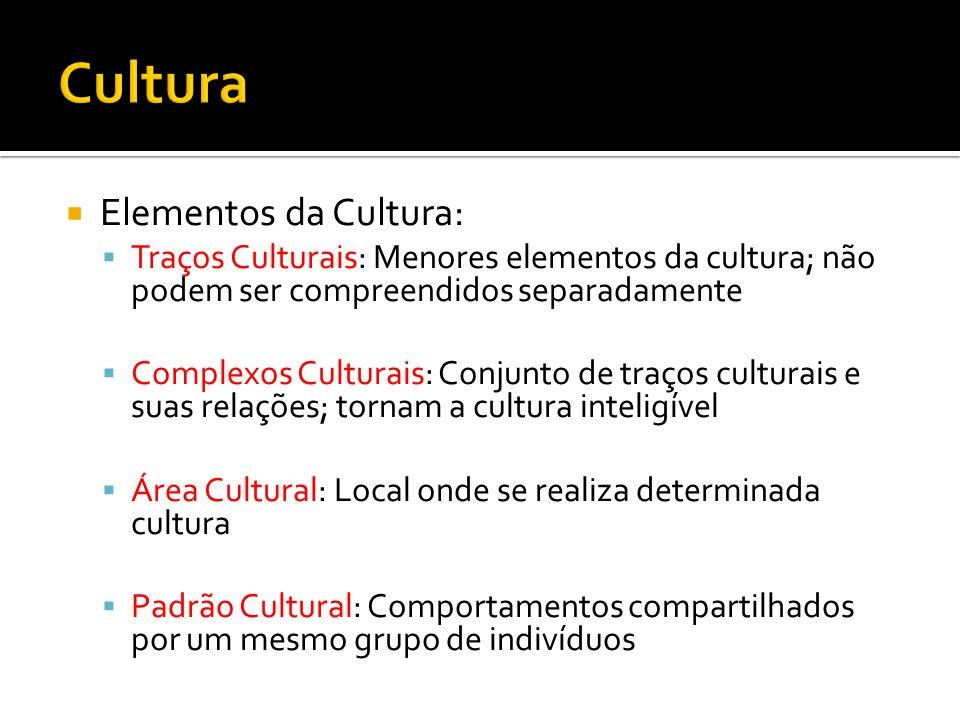 Elementos da Cultura: Traços Culturais: Menores elementos da cultura; não podem ser compreendidos separadamente Complexos Culturais: Conjunto de traço
