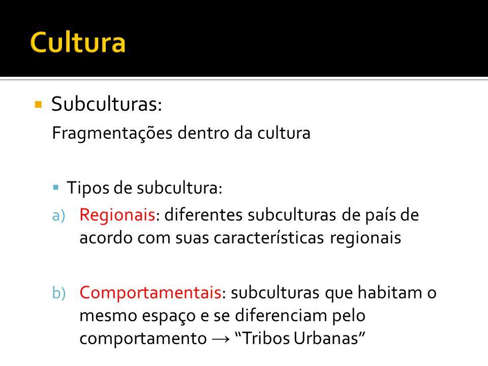 Subculturas: Fragmentações dentro da cultura Tipos de subcultura: a) Regionais: diferentes subculturas de país de acordo com suas características regi