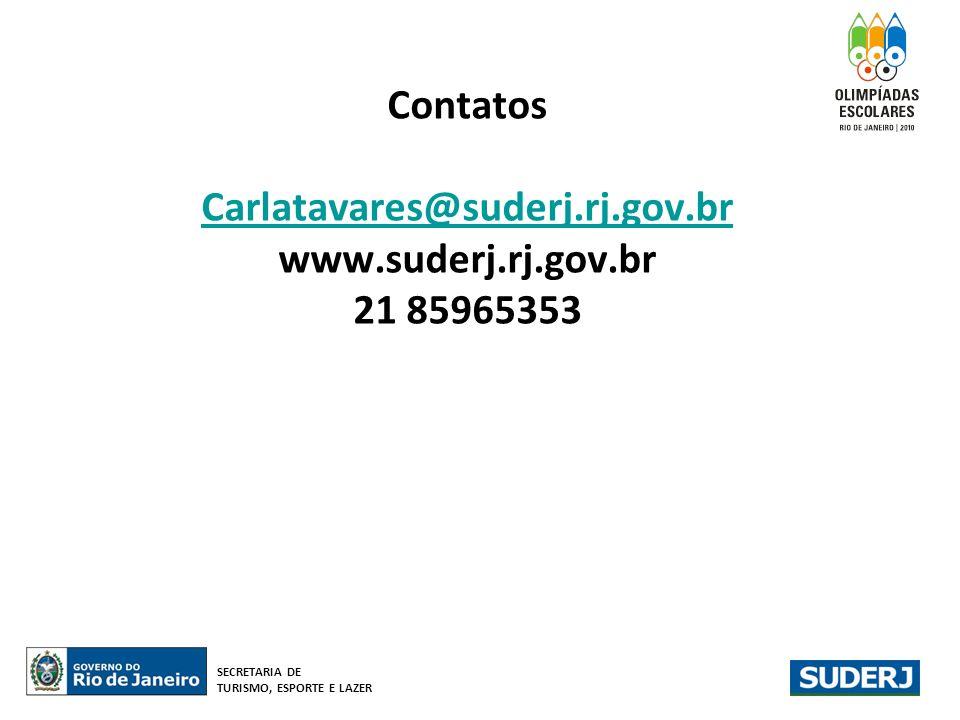 Contatos Carlatavares@suderj.rj.gov.br www.suderj.rj.gov.br 21 85965353 Carlatavares@suderj.rj.gov.br SECRETARIA DE TURISMO, ESPORTE E LAZER