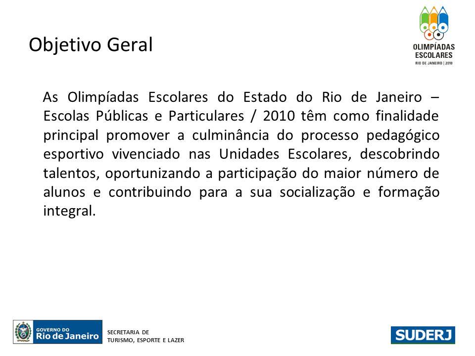 Objetivo Geral As Olimpíadas Escolares do Estado do Rio de Janeiro – Escolas Públicas e Particulares / 2010 têm como finalidade principal promover a c