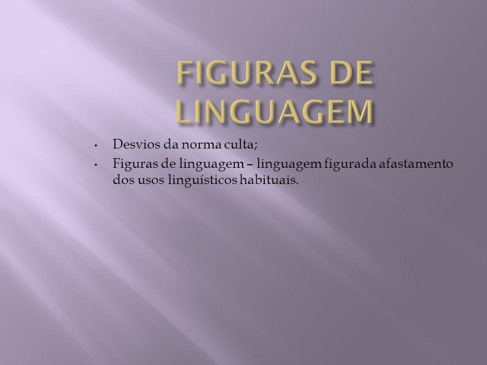 Desvios da norma culta; Figuras de linguagem – linguagem figurada afastamento dos usos linguísticos habituais.