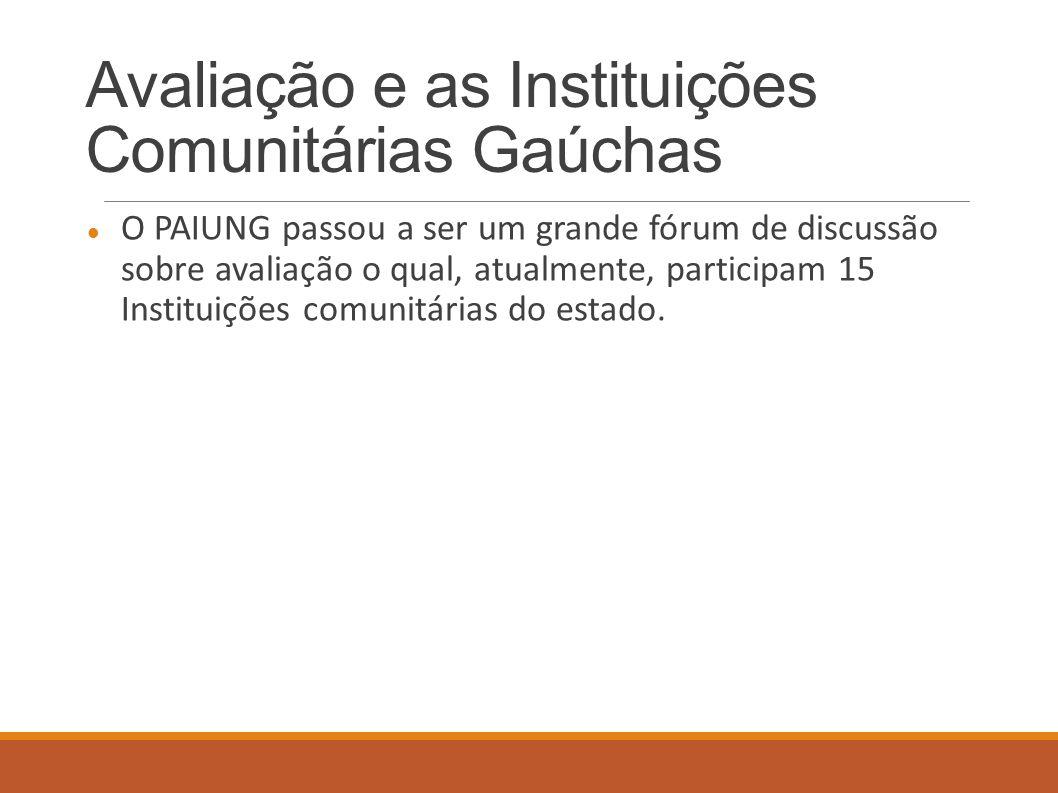Avaliação e as Instituições Comunitárias Gaúchas O PAIUNG passou a ser um grande fórum de discussão sobre avaliação o qual, atualmente, participam 15 Instituições comunitárias do estado.