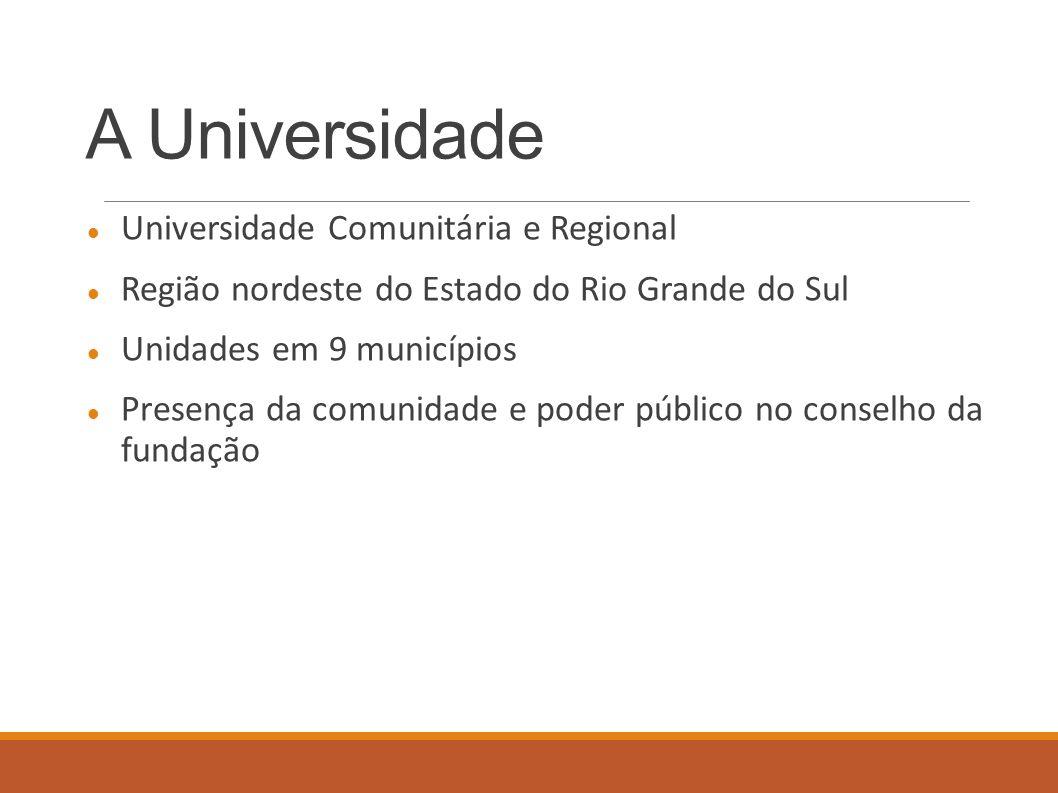 A Universidade Universidade Comunitária e Regional Região nordeste do Estado do Rio Grande do Sul Unidades em 9 municípios Presença da comunidade e poder público no conselho da fundação