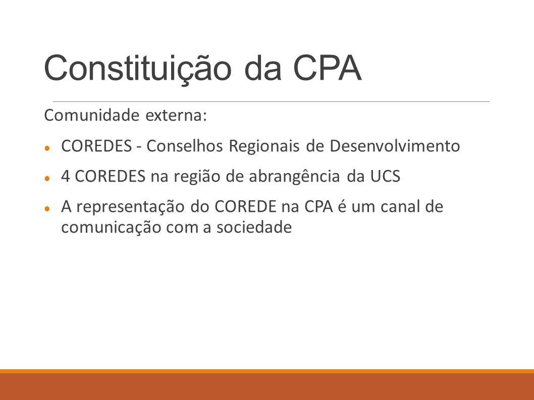 Constituição da CPA Comunidade externa: COREDES - Conselhos Regionais de Desenvolvimento 4 COREDES na região de abrangência da UCS A representação do COREDE na CPA é um canal de comunicação com a sociedade