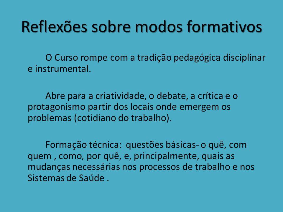 Reflexões sobre modos formativos O Curso rompe com a tradição pedagógica disciplinar e instrumental.