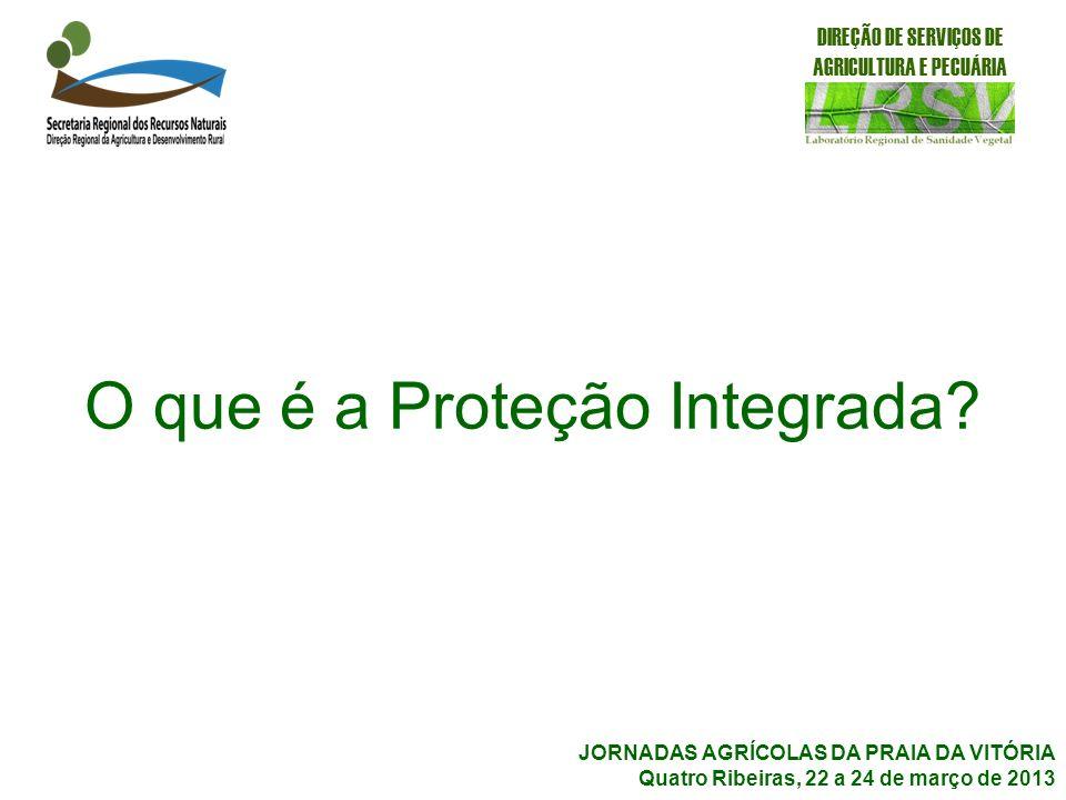 O que é a Proteção Integrada? DIREÇÃO DE SERVIÇOS DE AGRICULTURA E PECUÁRIA JORNADAS AGRÍCOLAS DA PRAIA DA VITÓRIA Quatro Ribeiras, 22 a 24 de março d