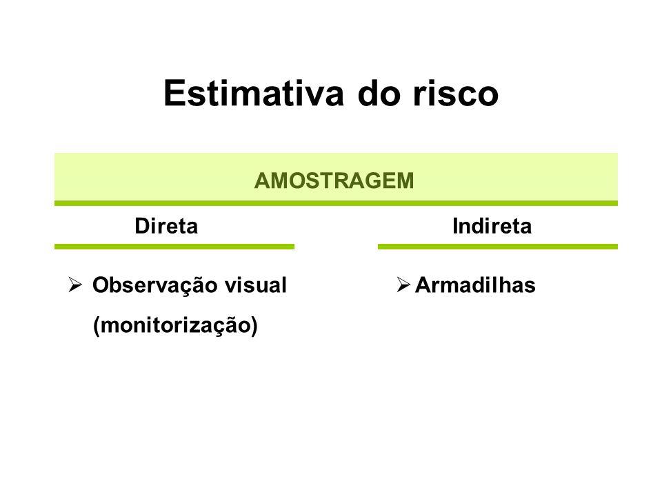Estimativa do risco AMOSTRAGEM Indireta Observação visual (monitorização) Direta Armadilhas
