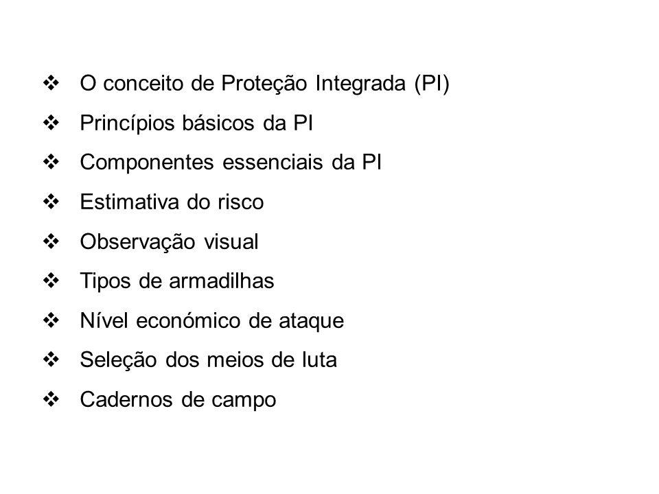 O conceito de Proteção Integrada (PI) Princípios básicos da PI Componentes essenciais da PI Estimativa do risco Observação visual Tipos de armadilhas