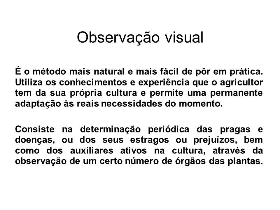 Observação visual É o método mais natural e mais fácil de pôr em prática. Utiliza os conhecimentos e experiência que o agricultor tem da sua própria c