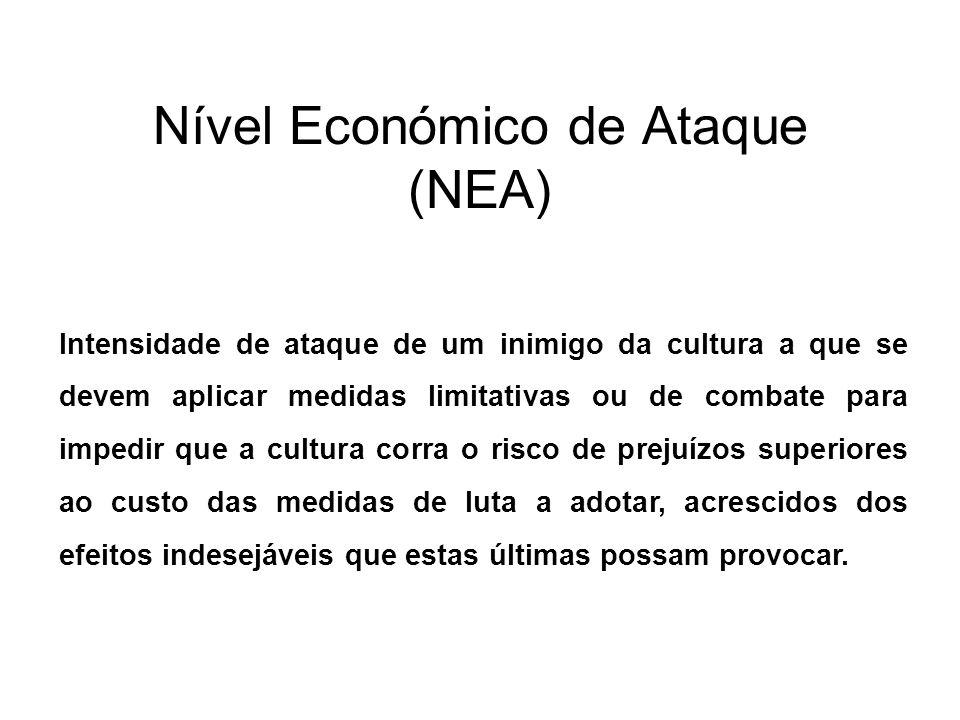 Nível Económico de Ataque (NEA) Intensidade de ataque de um inimigo da cultura a que se devem aplicar medidas limitativas ou de combate para impedir q