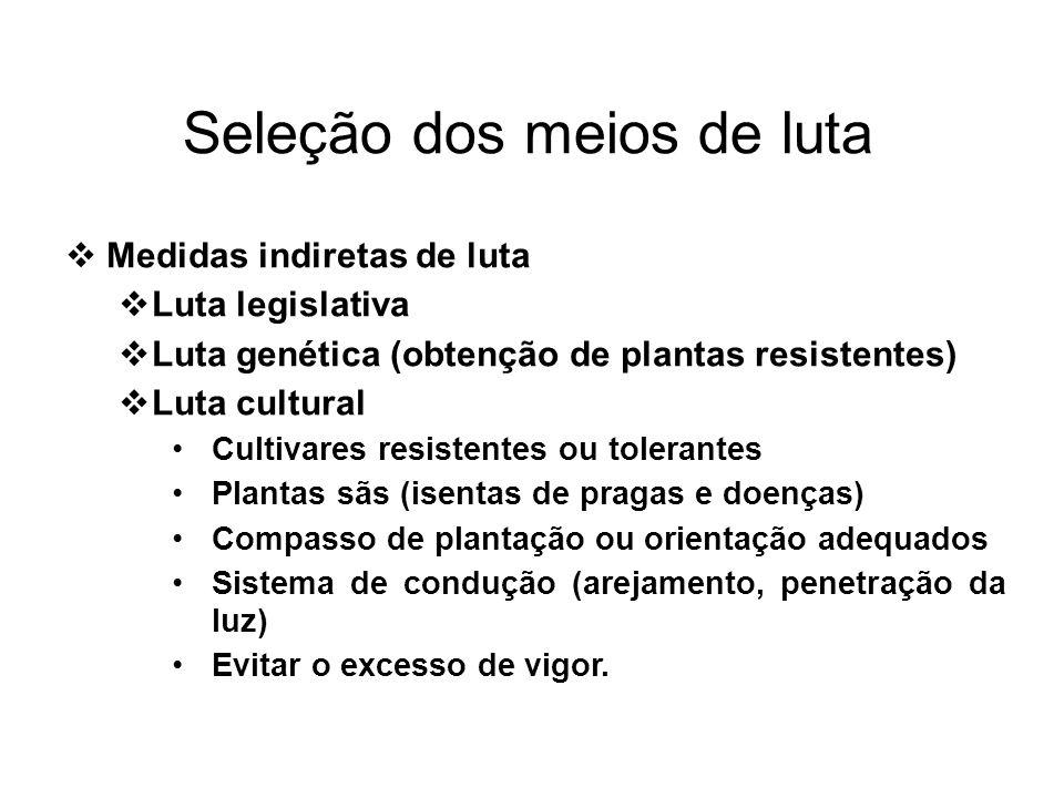 Medidas indiretas de luta Luta legislativa Luta genética (obtenção de plantas resistentes) Luta cultural Cultivares resistentes ou tolerantes Plantas