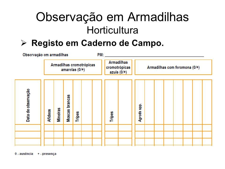 Observação em Armadilhas Horticultura Registo em Caderno de Campo.