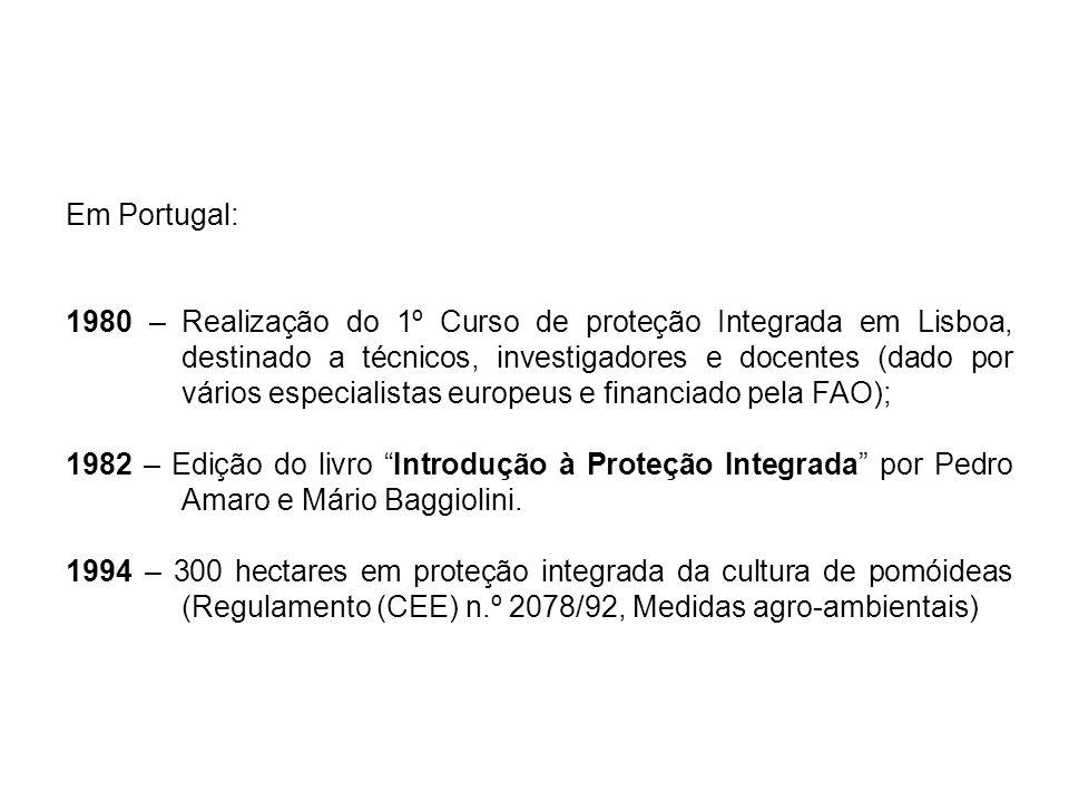 Em Portugal (mais recentemente): 2009 – Decreto-lei 256/2009, de 24 de setembro – define os princípios e orientações para a prática da PI, PRODI e MPB; 2013 – irá sair nova legislação sobre o uso sustentável dos produtos fitofarmacêuticos.