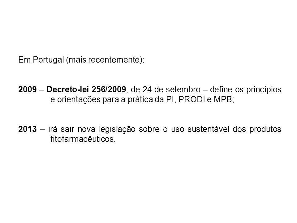 Em Portugal (mais recentemente): 2009 – Decreto-lei 256/2009, de 24 de setembro – define os princípios e orientações para a prática da PI, PRODI e MPB