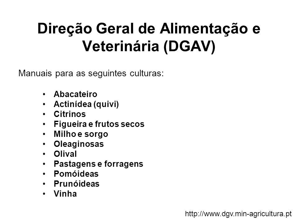 Direção Geral de Alimentação e Veterinária (DGAV) Manuais para as seguintes culturas: Abacateiro Actinídea (quivi) Citrinos Figueira e frutos secos Mi
