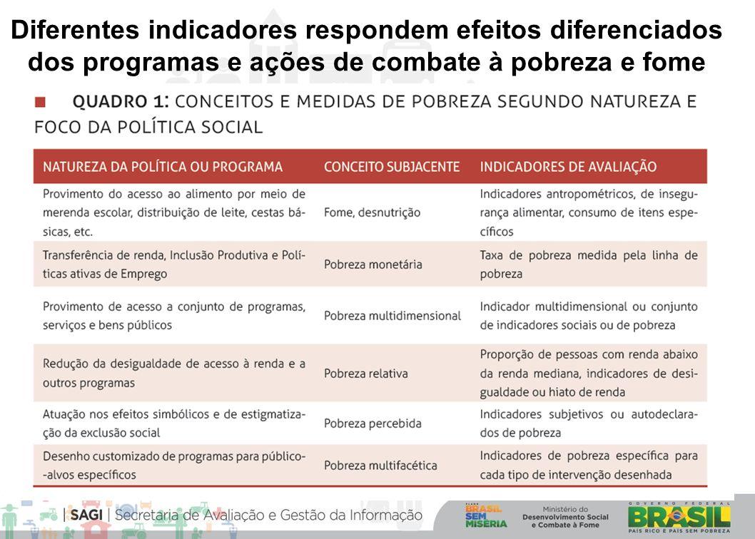 Diferentes indicadores respondem efeitos diferenciados dos programas e ações de combate à pobreza e fome