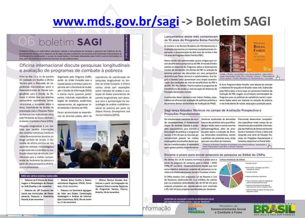 www.mds.gov.br/sagi -> Boletim SAGIwww.mds.gov.br/sagi