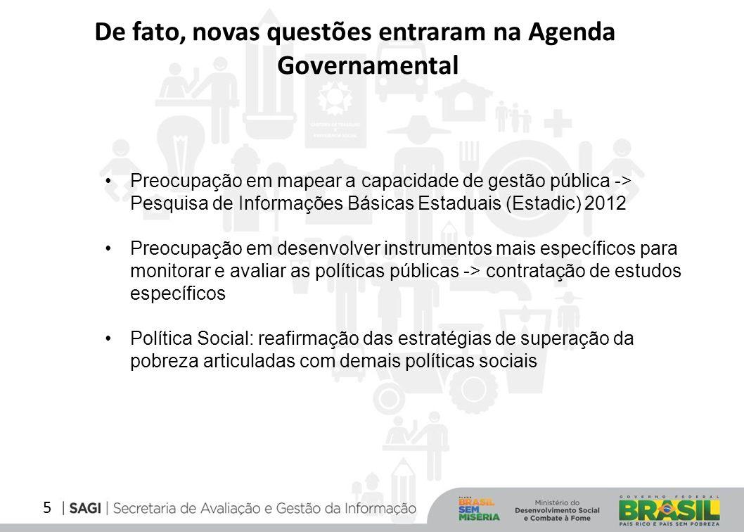 5 De fato, novas questões entraram na Agenda Governamental Preocupação em mapear a capacidade de gestão pública -> Pesquisa de Informações Básicas Est
