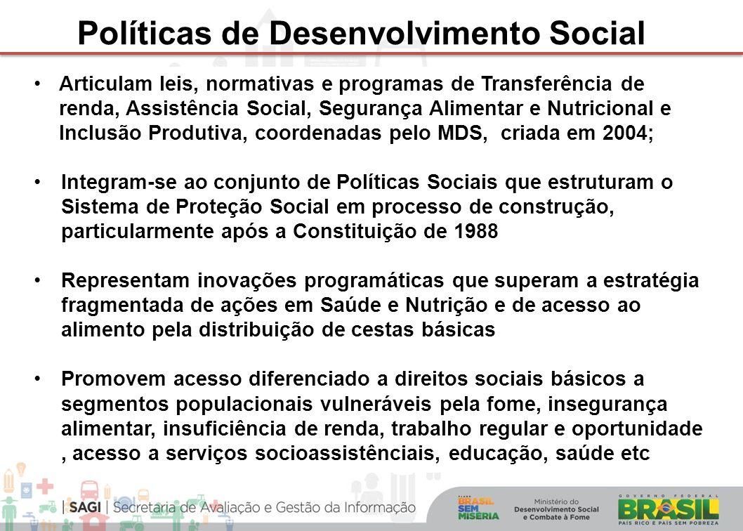 Articulam leis, normativas e programas de Transferência de renda, Assistência Social, Segurança Alimentar e Nutricional e Inclusão Produtiva, coordena