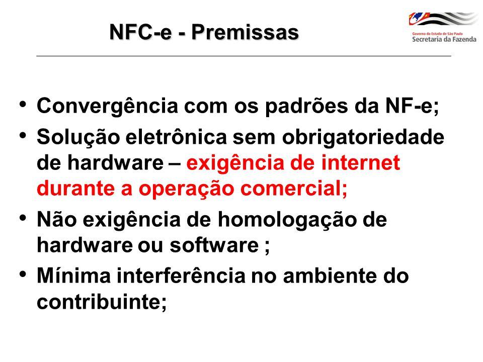 Arquivo eletrônico XML –M esmo leiaute da NF-e modelo 55 porém modelo específico de documento (modelo 65); –Existência apenas digital; –Assinado pelo contribuinte com certificado digital, emitido em cadeia de certificação da ICP-Brasil; –Que recebeu autorização de uso da Autoridade Tributária competente, previamente a conclusão da transação comercial; –Que está disponível para consulta no Portal da Administração Tributária via Internet; –A NFC-e já está integrada na EFD bem como ao SPED contribuições.