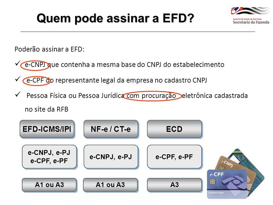 Início em 2009 com 2.961 estabelecimentos Protocolo ICMS 03/11: Fixa o prazo máximo para que TODOS os contribuintes RPA estejam incluídos na EFD - Janeiro de 2014 Publicação do Comunicado DEAT - Série EFD nº 05/2012 de 03/05/2012 Cronograma de Enquadramento Situação em Janeiro de 2014: 270.195 estabelecimentos obrigados Dispensadas da utilização da EFD as Microempresas e as Empresas de Pequeno Porte, previstas na Lei Complementar nº 123/06, de 14/12/2006 Obrigatoriedade Paulista