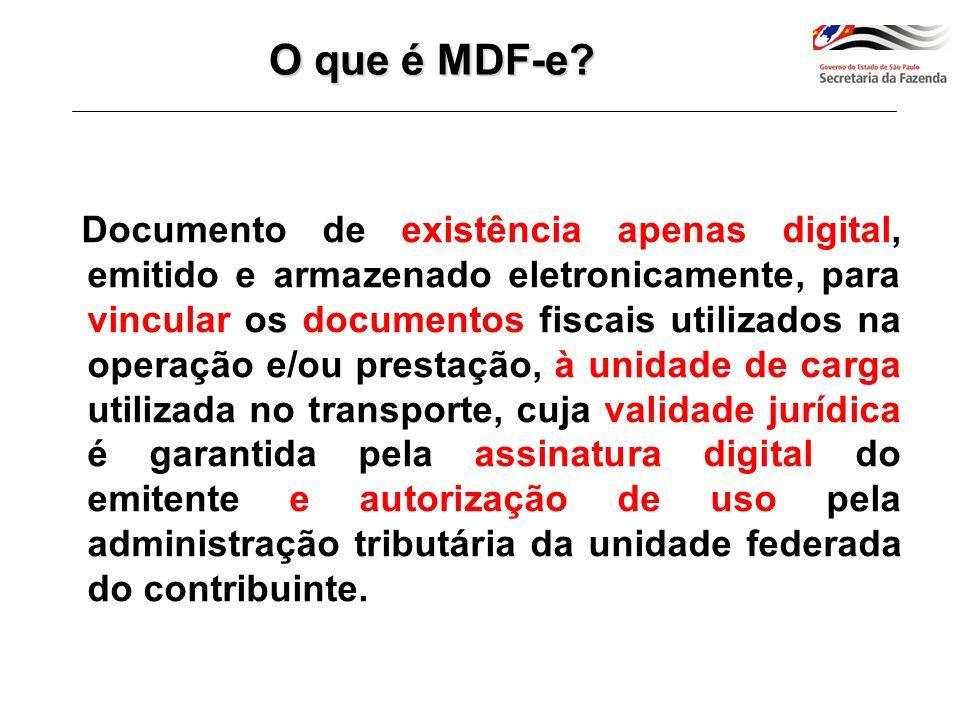 A finalidade do MDF-e é agilizar o registro em lote de documentos fiscais em trânsito e identificar a unidade de carga utilizada e demais características do transporte.