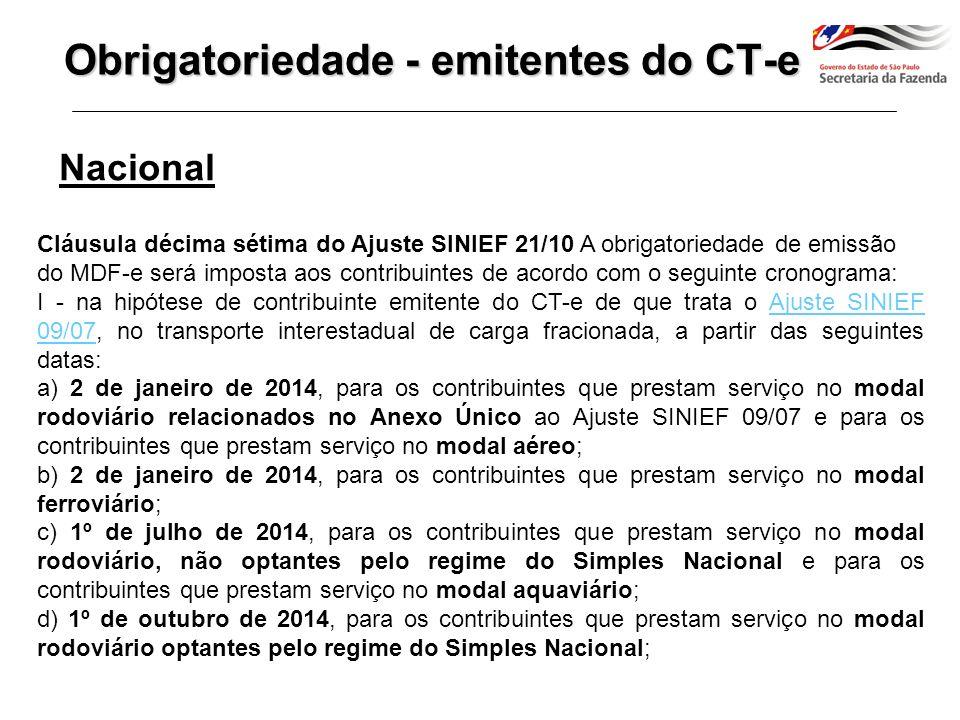 Nacional Cláusula décima sétima do Ajuste SINIEF 21/10 A obrigatoriedade de emissão do MDF-e será imposta aos contribuintes de acordo com o seguinte cronograma: I -...