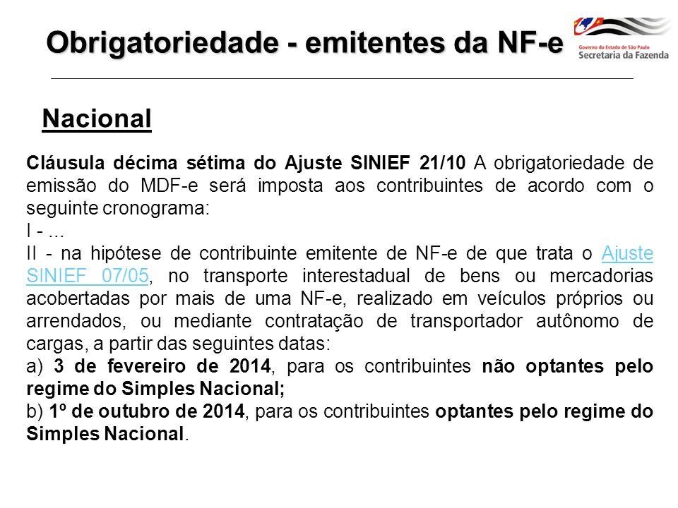 Transporte com mais de 1 CT-e 02/01/14 a 01/10/14 Transporte com mais de 1 NF-e 03/02/14 – 01/10/2014 Obrigatoriedade MDF-e - Nacional