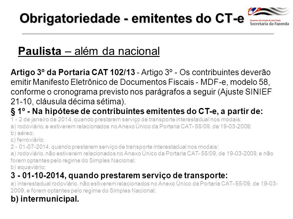 Emitente de CT-e Transporte com mais de 1 CT-e Art.