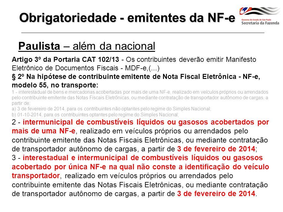 Emitente de NF-e Transp.combustível com mais de 1 NF-e Art.