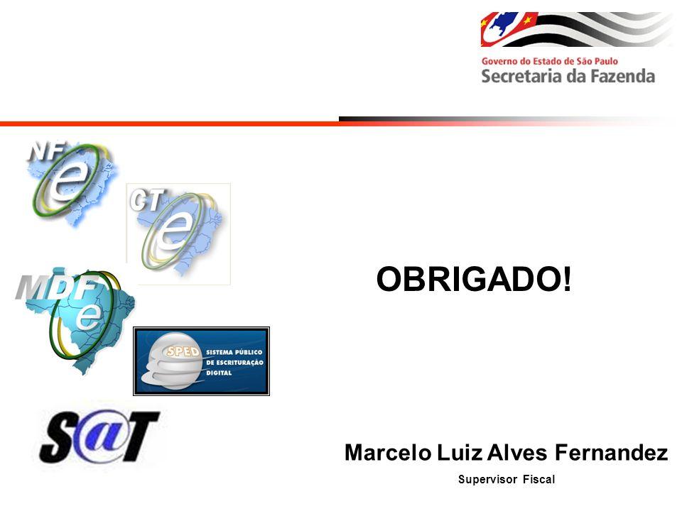 OBRIGADO! Marcelo Luiz Alves Fernandez Supervisor Fiscal