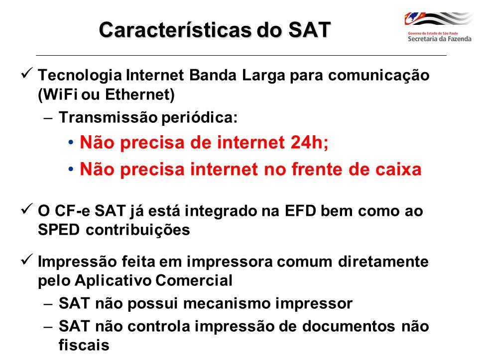 Equipamento possui certificado digital próprio, capaz de assinar dados de venda do CF-e-SAT Dois tipos de certificado digital do equipamento SAT: –Emitido pela SEFAZ (sem custo de aquisição para o contribuinte), ou –Emitido por Autoridade Certificadora da cadeia ICP-Brasil (aquisição por conta do contribuinte) Características do SAT
