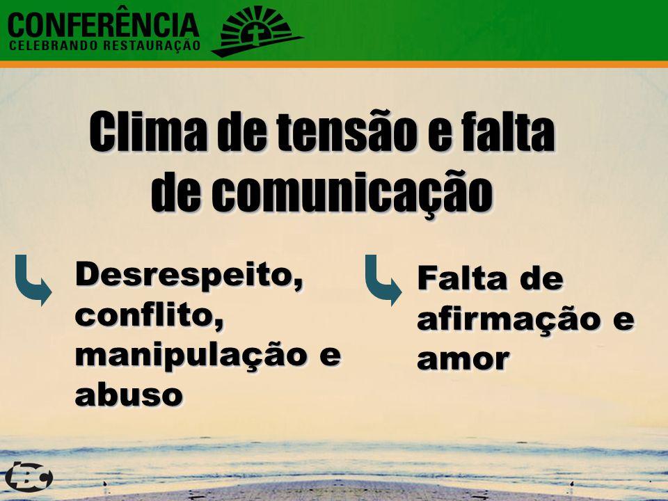 Clima de tensão e falta de comunicação Falta de afirmação e amor Desrespeito, conflito, manipulação e abuso