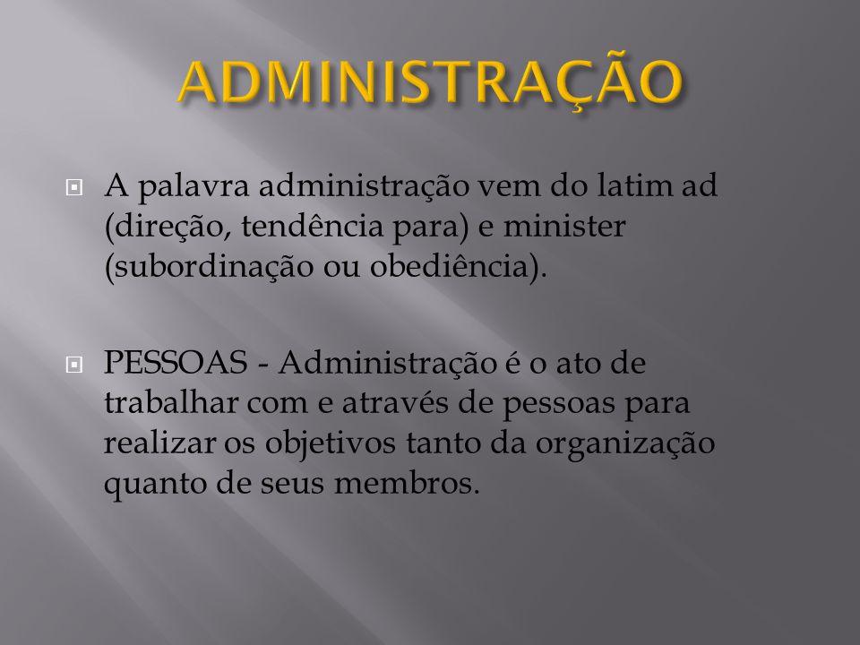A palavra administração vem do latim ad (direção, tendência para) e minister (subordinação ou obediência). PESSOAS - Administração é o ato de trabalha