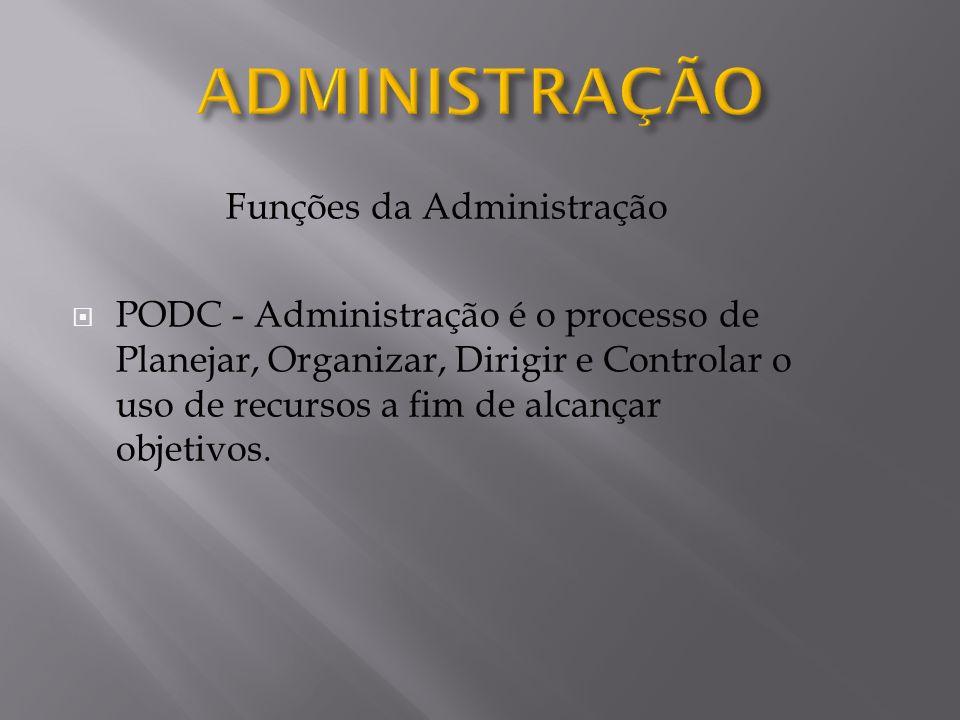 Funções da Administração PODC - Administração é o processo de Planejar, Organizar, Dirigir e Controlar o uso de recursos a fim de alcançar objetivos.