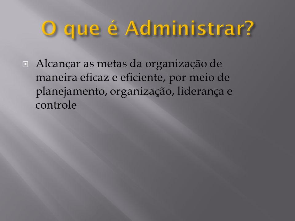 Alcançar as metas da organização de maneira eficaz e eficiente, por meio de planejamento, organização, liderança e controle