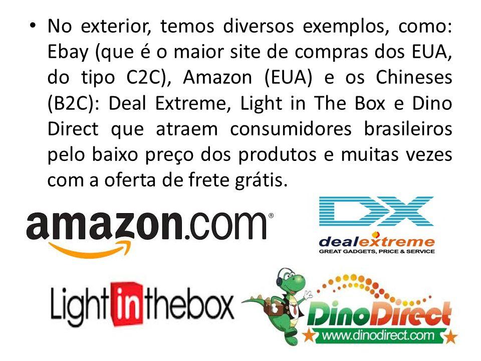 No exterior, temos diversos exemplos, como: Ebay (que é o maior site de compras dos EUA, do tipo C2C), Amazon (EUA) e os Chineses (B2C): Deal Extreme,