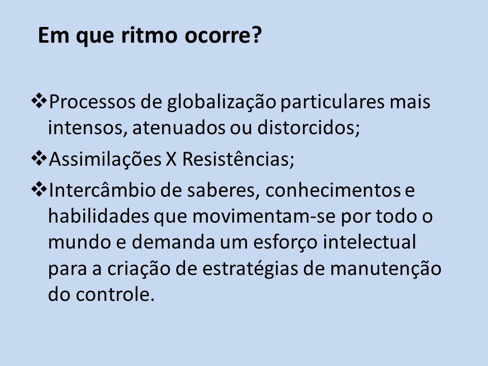 Processos de globalização particulares mais intensos, atenuados ou distorcidos; Assimilações X Resistências; Intercâmbio de saberes, conhecimentos e h