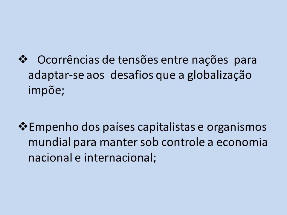 Ocorrências de tensões entre nações para adaptar-se aos desafios que a globalização impõe; Empenho dos países capitalistas e organismos mundial para m