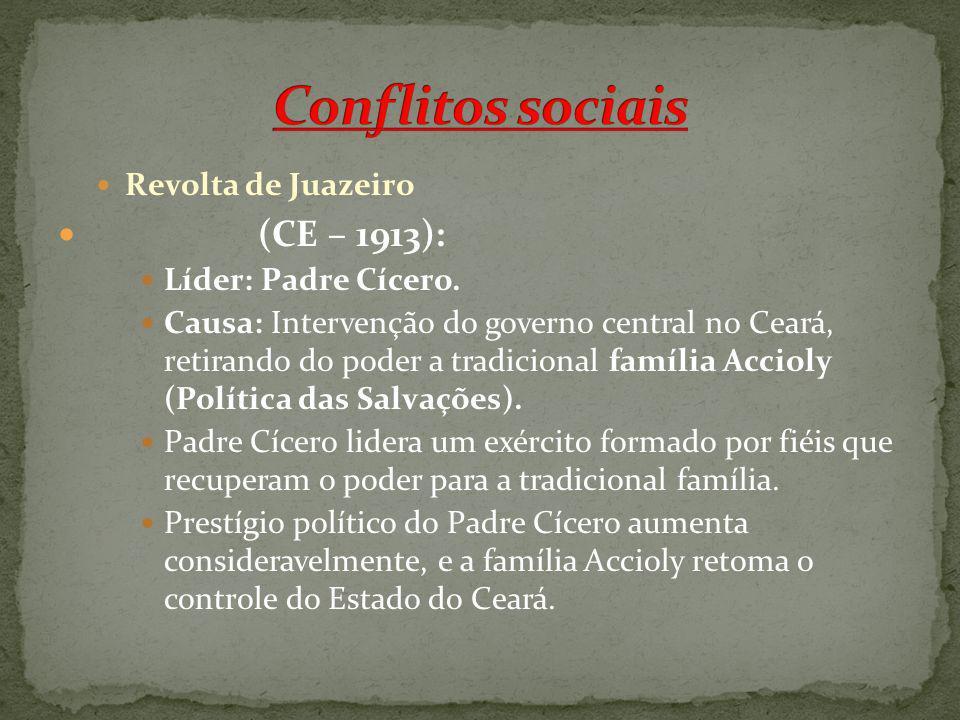 Revolta de Juazeiro (CE – 1913): Líder: Padre Cícero. Causa: Intervenção do governo central no Ceará, retirando do poder a tradicional família Accioly