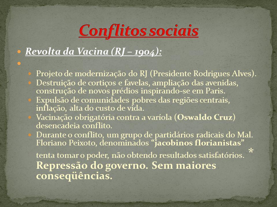 Revolta da Vacina (RJ – 1904): Projeto de modernização do RJ (Presidente Rodrigues Alves). Destruição de cortiços e favelas, ampliação das avenidas, c