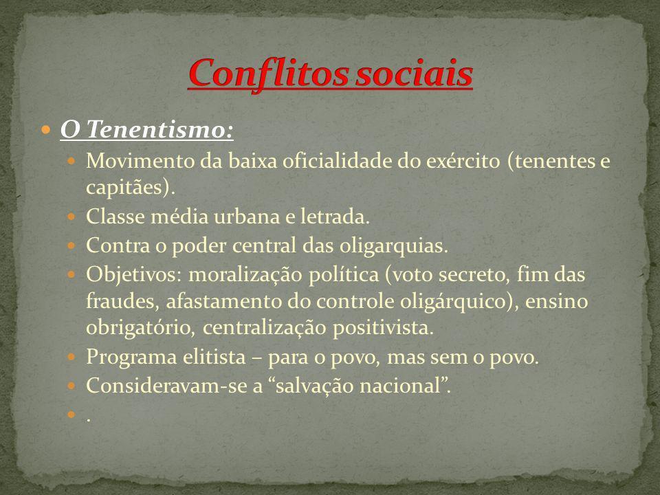 O Tenentismo: Movimento da baixa oficialidade do exército (tenentes e capitães). Classe média urbana e letrada. Contra o poder central das oligarquias