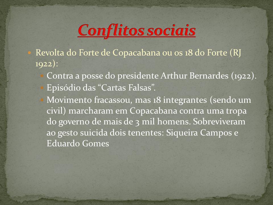 Revolta do Forte de Copacabana ou os 18 do Forte (RJ 1922): Contra a posse do presidente Arthur Bernardes (1922). Episódio das Cartas Falsas. Moviment
