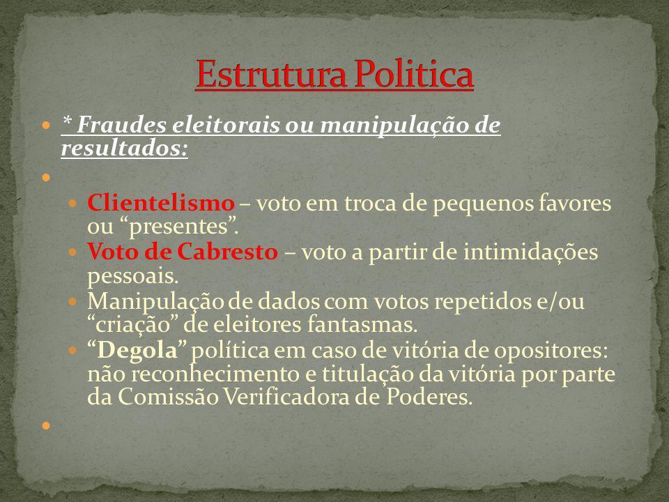 * Fraudes eleitorais ou manipulação de resultados: Clientelismo – voto em troca de pequenos favores ou presentes. Voto de Cabresto – voto a partir de